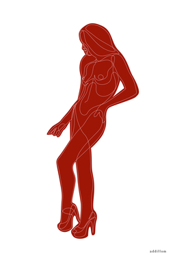 c12_red - nude line drawing
