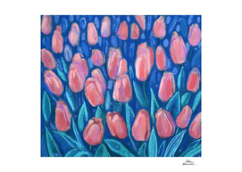 Red Tulips Blue Field Floral Pastel Painting Spring Flowers