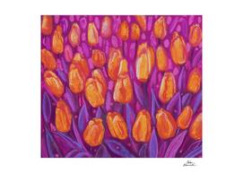 Tulips Field Spring Flowers Orange Purple Floral Painting
