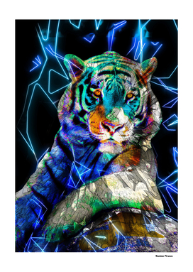 Tiger Animals Nature - Colored Neon Street Art Blue