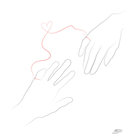 Hands and red thread of fate