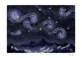 Starry Night over Mountains (Tribute)
