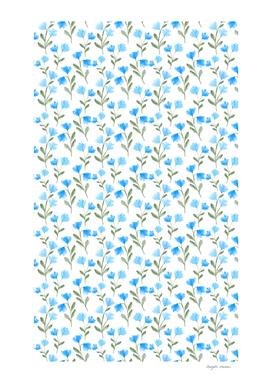 Blue floral watercolor pattern