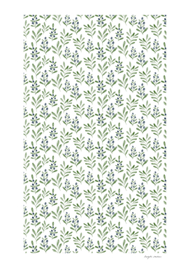 Berry leaf watercolor pattern