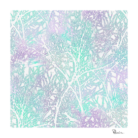 Tangled Tree Branches in Green and Lilac