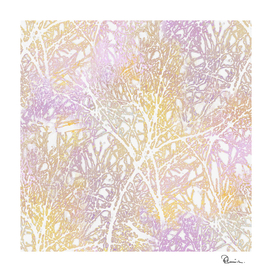 Tangled Tree Branches in Pink and Yellow