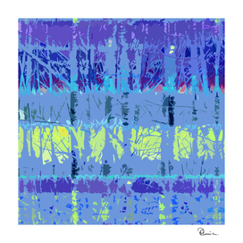 Tropical Trees in Abstract Cubist Blue and Yellow