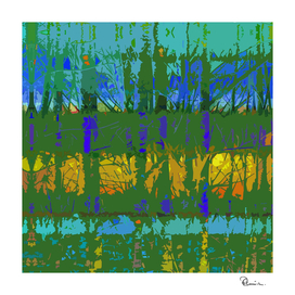 Tropical Trees in Abstract Cubist Green and Gold