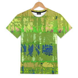 Tropical Trees in Abstract Cubist Lime Green and Blue