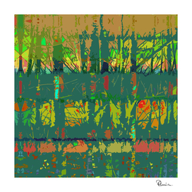 Tropical Trees in Abstract Cubist Green and Orange