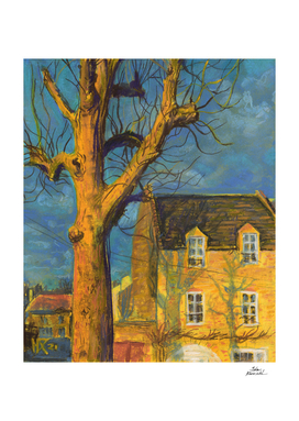 Yellow House, Yellow Tree Landscape Pastel Painting