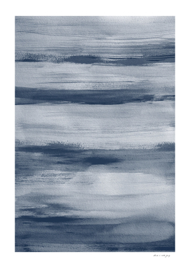 Touching Indigo Blue Watercolor Abstract 2