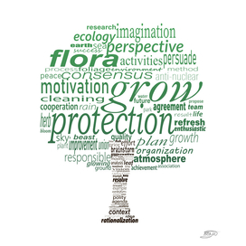 Tree shape with nature protection concept words