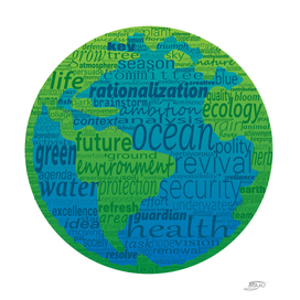 Earth shape with nature protection concept words