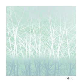 Frosty Winter Branches in Icy Mint Green