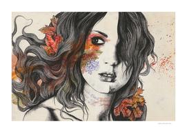 Wake II   maple leaves tattoo woman portrait