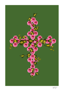 Cross roses and ivy
