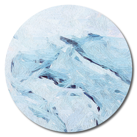 Abstraction in the form of blue waves.
