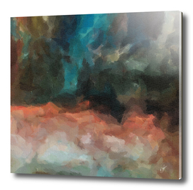 Abstraction on canvas in the form of multi-colored clouds.
