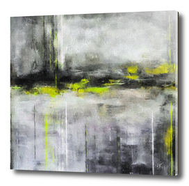Oil abstraction with yellow accent.