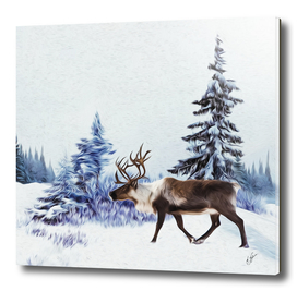 Deer on the background of the Lapland landscape.