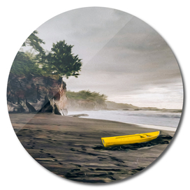 Yellow boat on the shore of the Pacific Ocean.