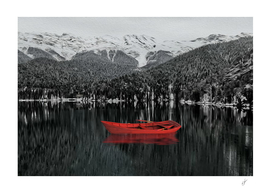 Red boat on the background of black and white nature.