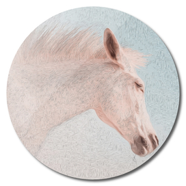 Portrait of a horse in a delicate pink color.