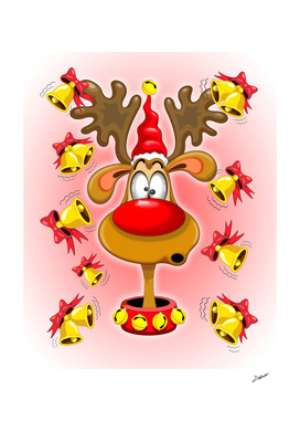 Reindeer Fun Christmas Cartoon with Bells Alarms