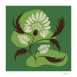 Flowers print, poster. Folk floral art. Canvas.