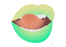 Yellow-green lips. Eccentric makeup.