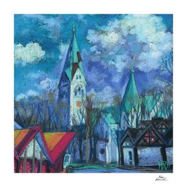 Kaliningrad,  Luisenkirche, Cityscape Pastel Painting