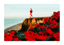 Blooming red begonia backdrop of lighthouse.
