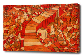 Path in brown and orange 3d landscape