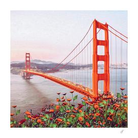 Vintage card Golden Gate Bridge with flowers.