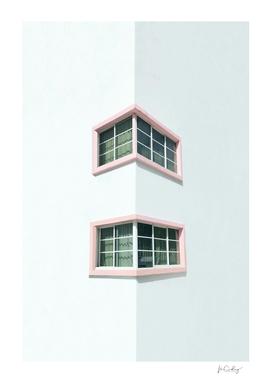 Pink corner windows