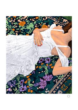 Moroccan Carpet, Bohemian Woman Painting