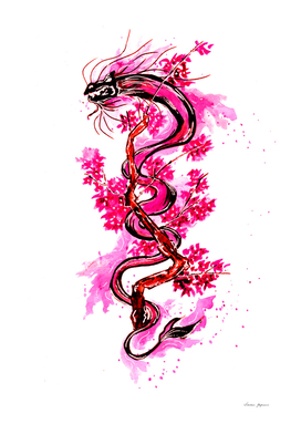 Pink Dragon with Blossoms