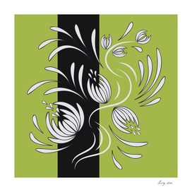 Abstract folk floral art. Flowers print, poster.