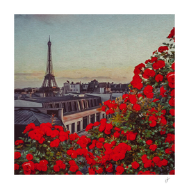 Vintage Paris postcard. Imitation of oil painting.
