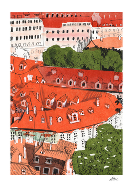 Red Roofs of Prague, Paper Collage Ink Sketch