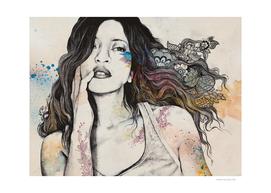 Cyanide | sexy tattoo woman portrait