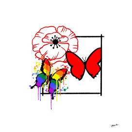 Poppy with red butterfly and rainbow butterfly