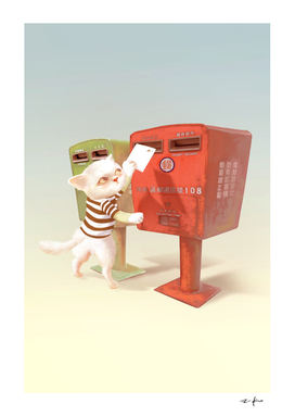 Cat trying to put an postcard in mailbox