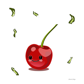 Red cherry fruit kawaii