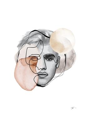 male line art portrait