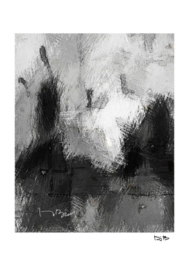 An Abstract Sketch of Five Pears in Black and White
