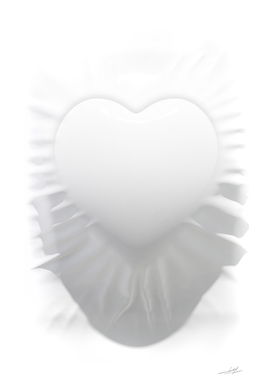 heart symbol extruded from white cloth