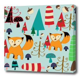 woodland fox blue