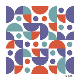 Funky retro pattern 70s style purple, turquoise,red